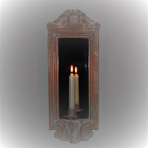 kerzenhalter badezimmer wandspiegel mit kerzenhalter echtholzrahmen 54x20 cm