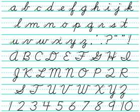 the end of the line for cursive