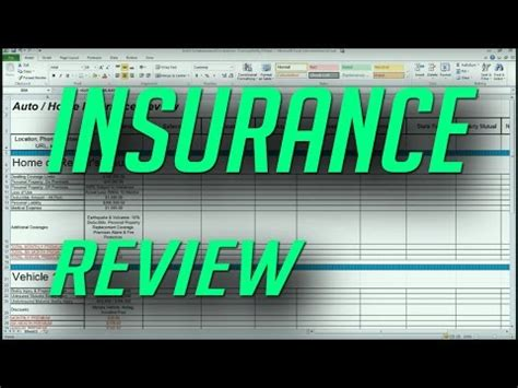 auto  home insurance comparison review spreadsheet