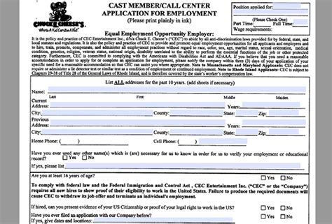printable job application for chuck e cheese chuck e cheese s job application apply online