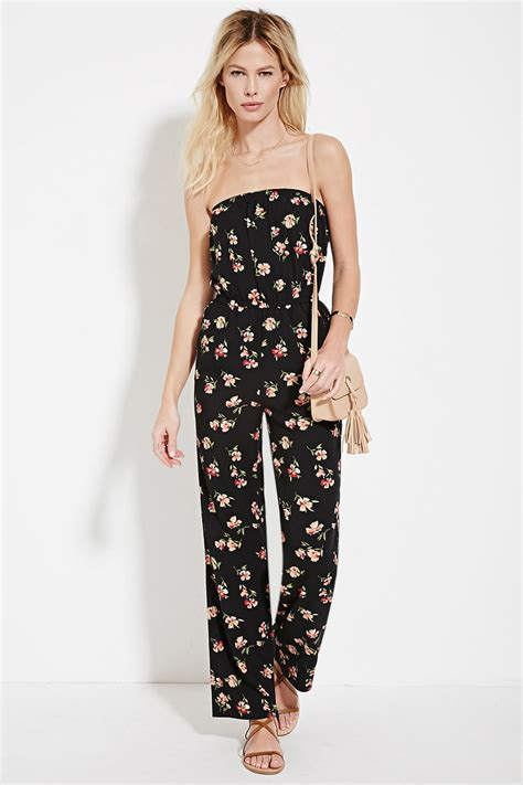forever 21 strapless floral print jumpsuit in black lyst