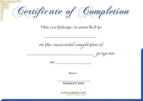 completion certificate template free blank certificate of completion template helloalive