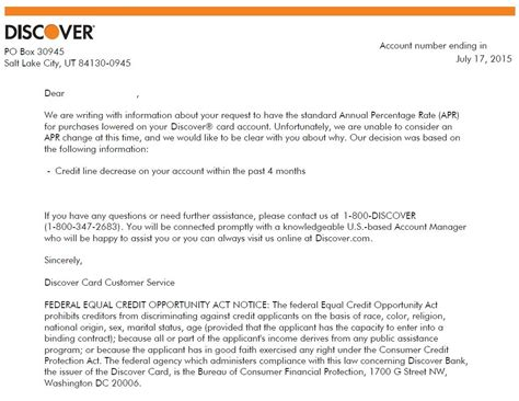 Credit Rejection Letter Sle Discover Apr Reduction Letter Myfico 174 Forums