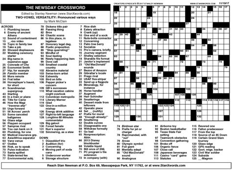 sunday times crossword section newsday crossword sunday for nov 19 2017 by stanley