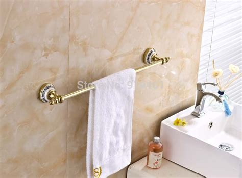 ceramic bathroom towel holder wholesale and retail promotion golden brass bathroom towel