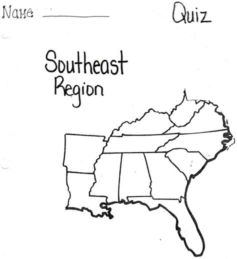 blank map of united states by regions united states southeast region map quiz
