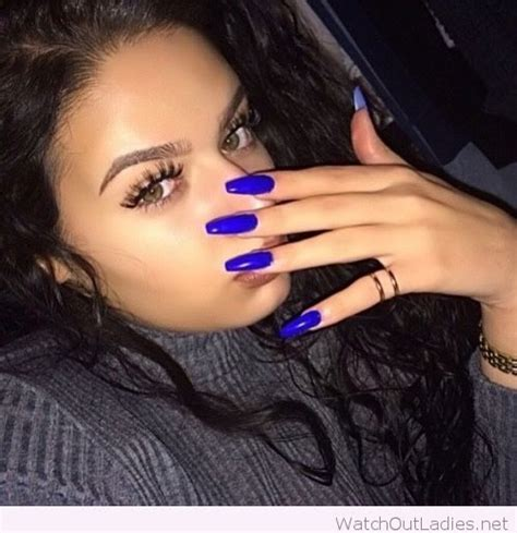 electric blue long nails watch out ladies