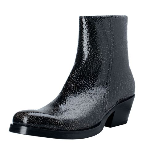 black s boots versace s black cracked leather cowbow ankle boots