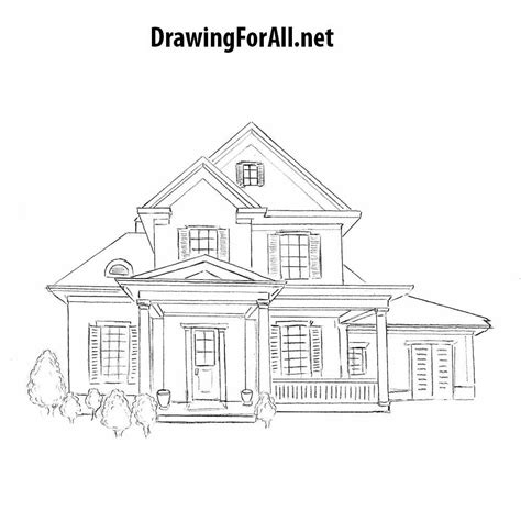 Drawing House by How To Draw A House For Beginners Drawingforall Net