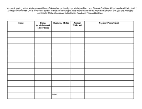 Pledge Sheets For Fundraising Template by Fundraiser Pledge Sheets Printable