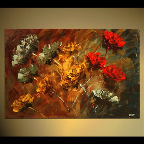 the modern flower painter painting smell of roses abstract floral painting 4445