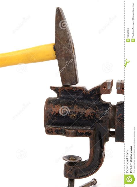 old bench vises rusty old bench vise and a hammer stock images image 18152984