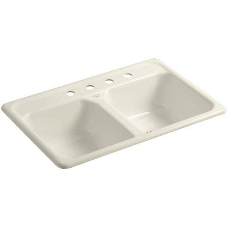 kohler delafield cast iron sink kohler k 5817 4 47 almond delafield 33 quot basin top