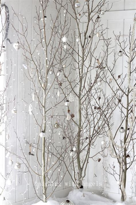 tree branch decor home design christmas decorations flowering diy 37 awesome silver and white christmas tree decorating
