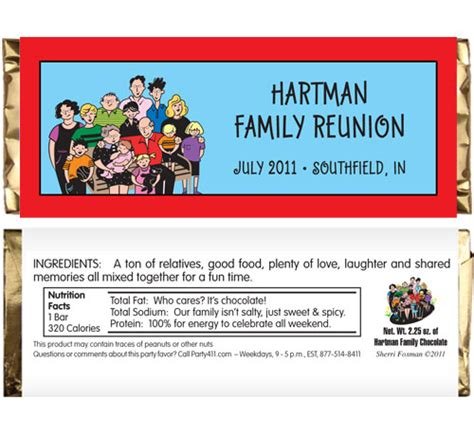 theme names for reunions a reunion theme candy bar wrapper