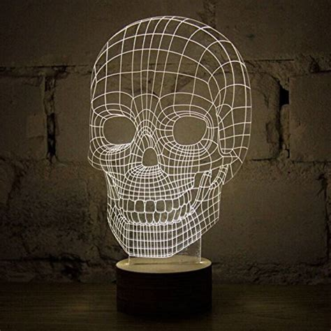 Portable 3d Illusion Skull Shape L Led Lu 3d Desain Tengkorak portable 3d illusion skull shape l led lu 3d desain tengkorak yellow