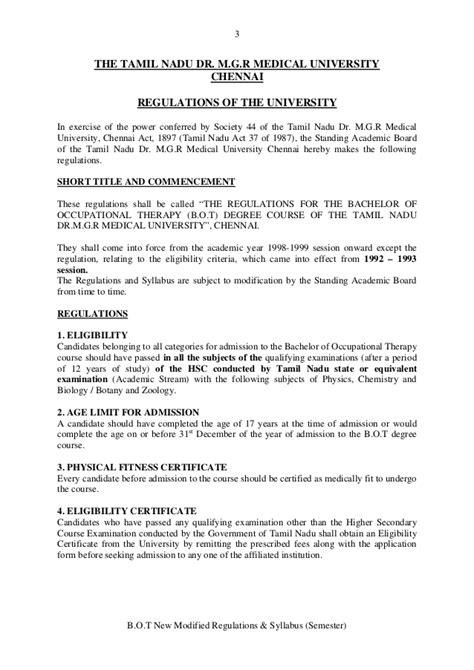 Dr Mgr Mba Syllabus by Bot New Modified Syllabus Regulations Tn Dr Mgr