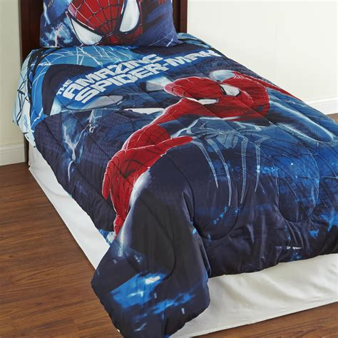 spiderman in bed marvel the amazing spider man boy s twin comforter