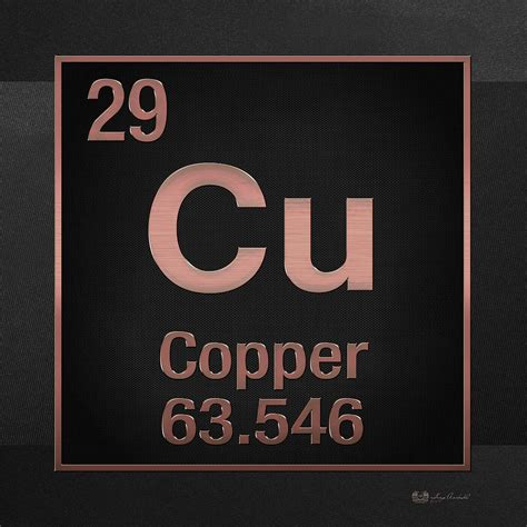 Cu On Periodic Table by Periodic Table Of Elements Copper Cu Copper On Black