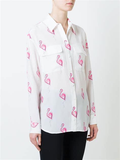 Atasan Flamingo White Shirt Equipment Flamingo Print Shirt In White Lyst