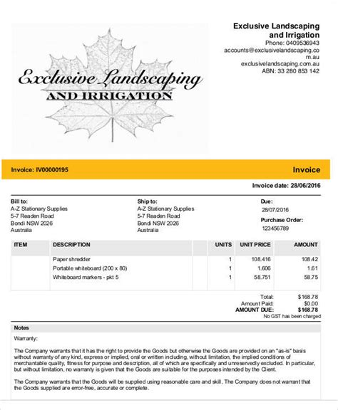 sample landscaping invoice  examples   word excel