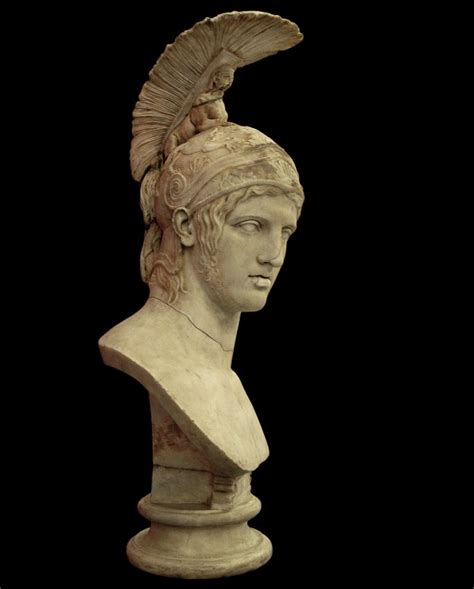 mars ares head of roman statue marble copy after