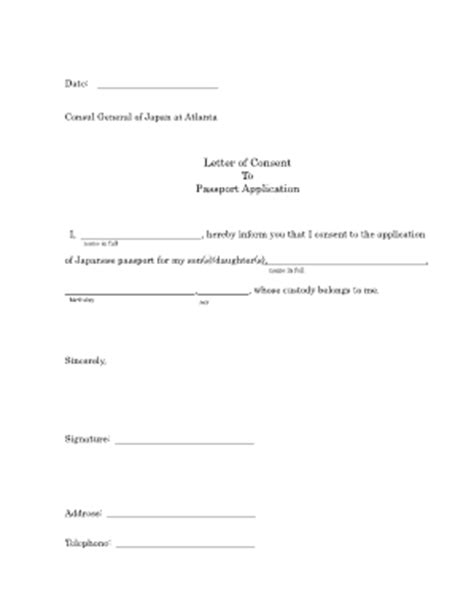 authorization letter for minor passport consent letter for passport fill printable
