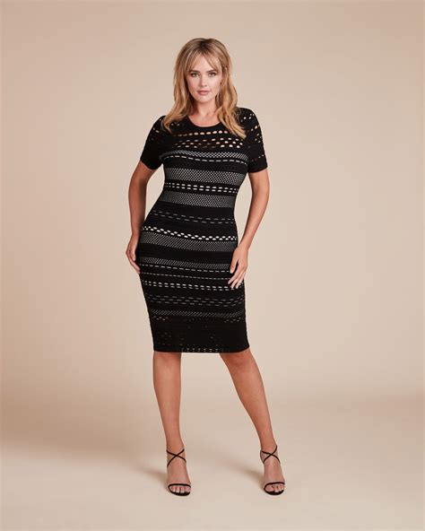 Cutout Sheath Knit Dress milly black white knit lace cutout sheath dress plus size