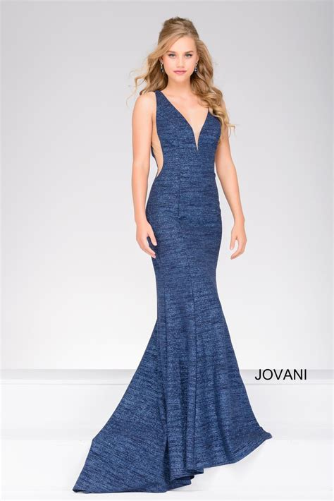 New Season Trends Of The Ballgown by Size 0 Light Blue Jovani 45811 Plunging Neck Jersey Gown