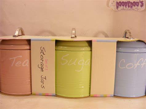 blue kitchen canisters bnib set of 3 pink lime green blue kitchen canisters