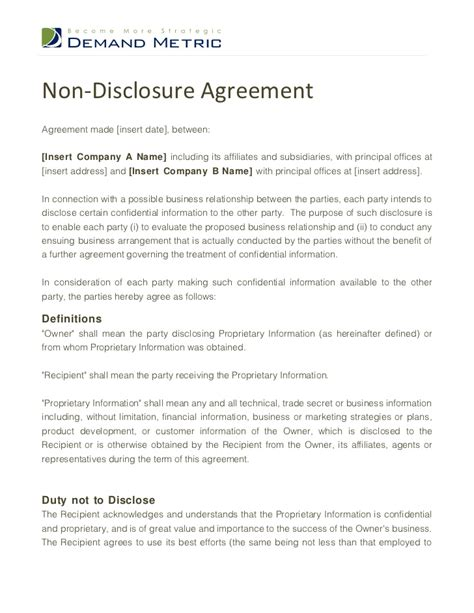 template non disclosure agreement sle non disclosure agreement free printable documents