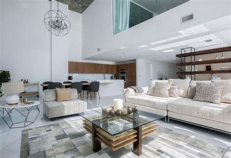 wonderful living room in miami duplex with grey sofa brown luxurious two level apartment in miami enhanced by