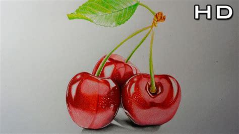 dibujos realistas en color dibujo de unas cerezas realistas con l 225 pices de colores