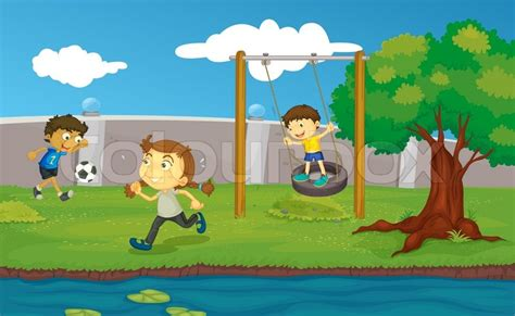 Kids Playing In Backyard Kids In The Park Stock Vector Colourbox