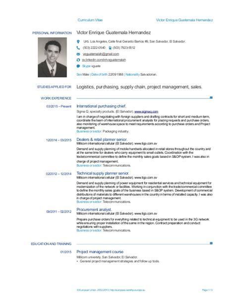 Modelo De Curriculum Vitae Para Trabajo En Guatemala Europass Cv Victor Guatemala