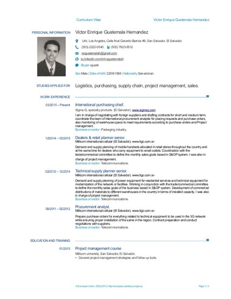 Modelo Curriculum Vitae Guatemala Europass Cv Victor Guatemala