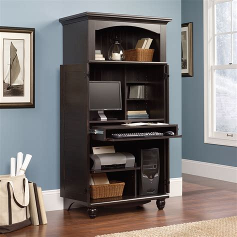 armoire computer desk harbor view computer armoire 138070 sauder