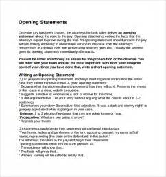 Opening Statement Template by Sle Opening Statement Template 9 Free Documents In