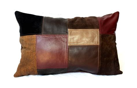 Patchwork Leather - crafted upcycled leather patchwork pillows small