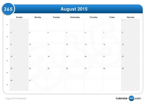 August Calendar 2015 August 2015 Calendar