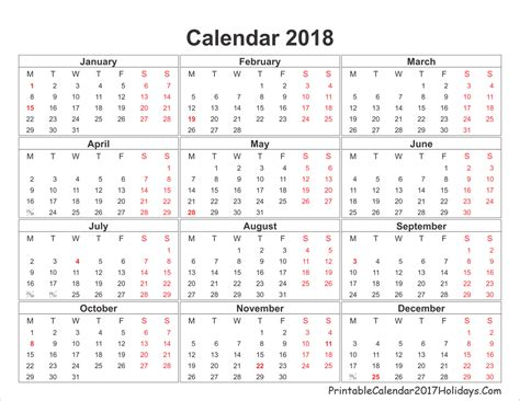2018 Calendar Year Blank Yearly Calendar 2018 Printable