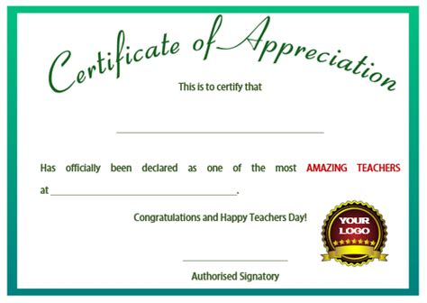 certificate of appreciation for teachers template 11 printable certificates of appreciation for teachers