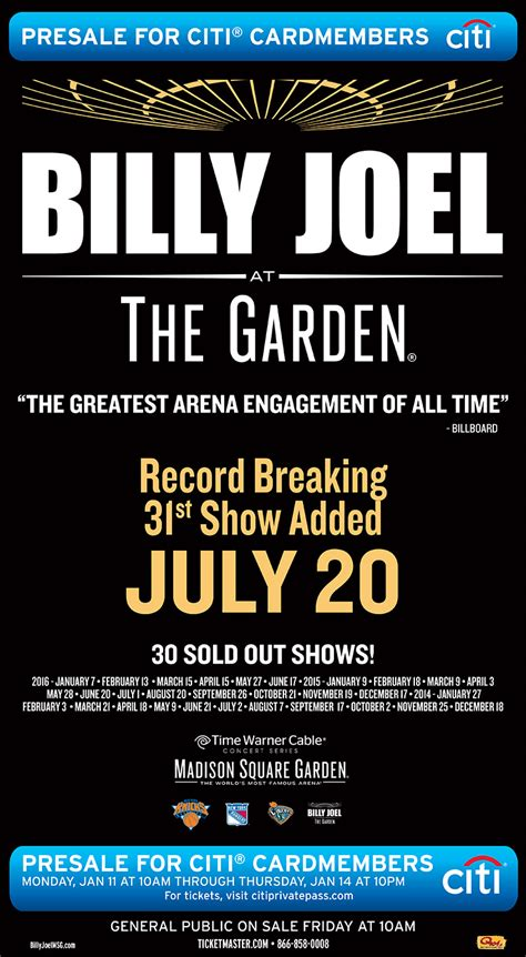 Square Garden Ticket Office by Billy Joel At Square Garden New York Ny January