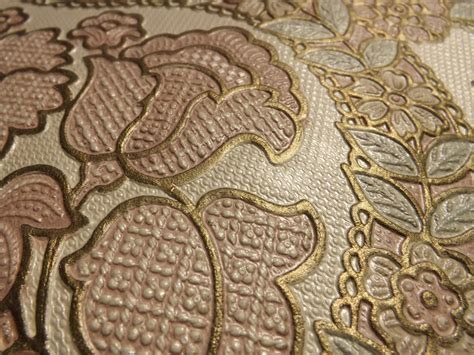 wallpaper gold embossed embossed gilded heavy wallpaper pink blue gold flowers and