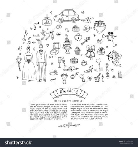 doodle wedding doodle wedding day collection stock vector