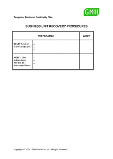 gmh plans business unit recovery procedures bcmpedia a wiki