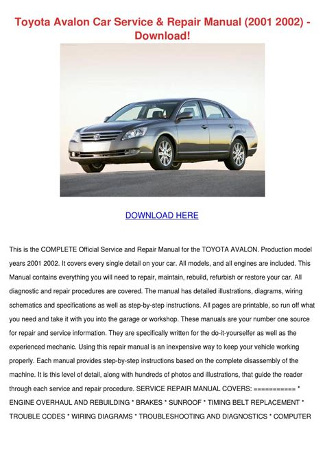 download car manuals pdf free 1996 toyota avalon user handbook toyota avalon car service repair manual 2001 by louisakerr issuu