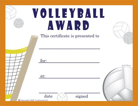 printable volleyball certificates of achievement free volleyball certificates 0 00 sports pinterest
