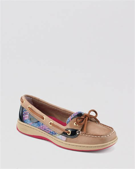 Sperry Hitam Size 21 26 lyst sperry top sider boat shoes angelfish plaid with sequins in brown