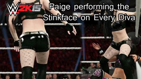 diva youtube wwe 2k15 ps4 paige performing the stinkface on every